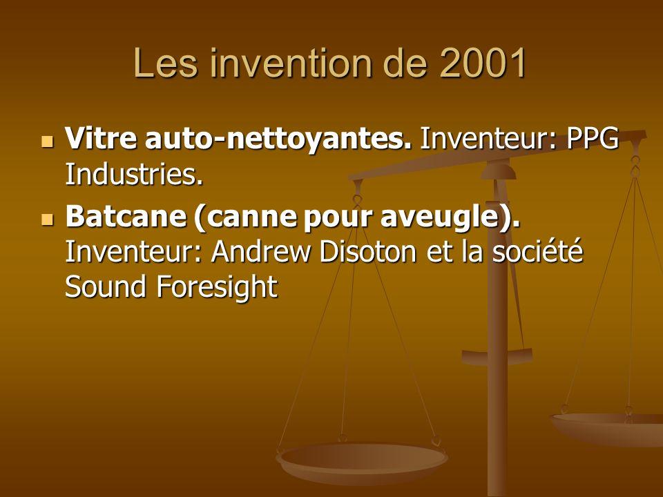 Les invention de 2001 Vitre auto-nettoyantes. Inventeur: PPG Industries.