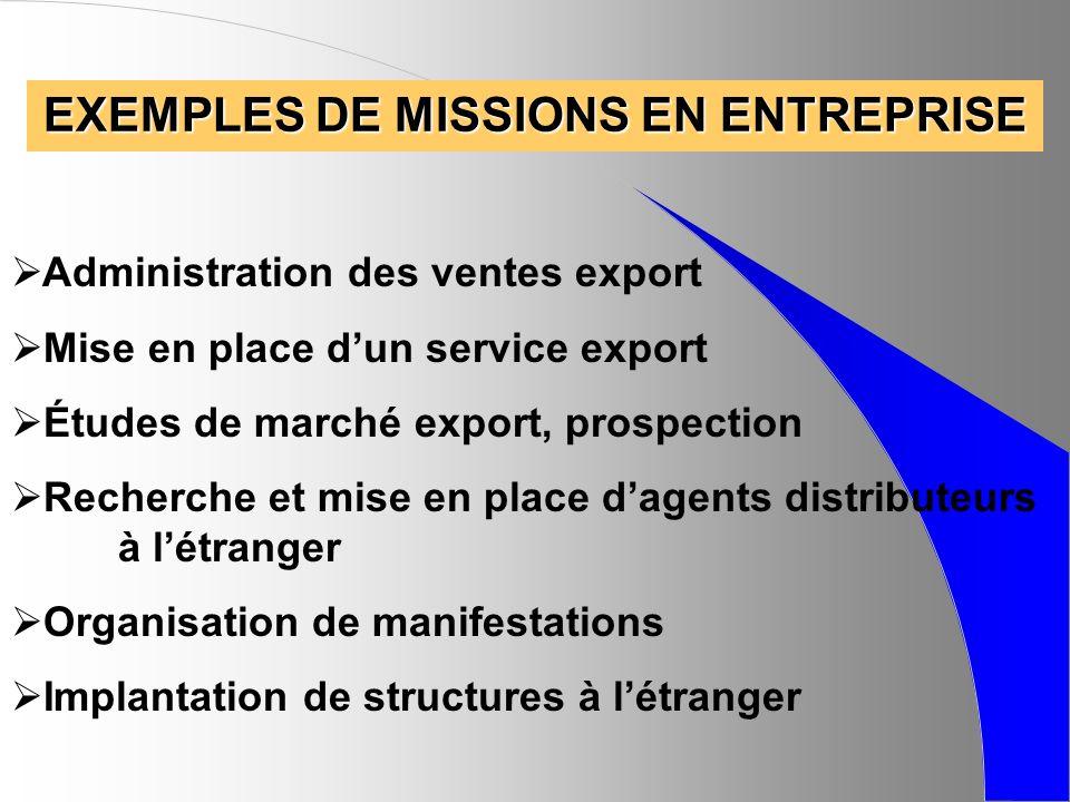 EXEMPLES DE MISSIONS EN ENTREPRISE