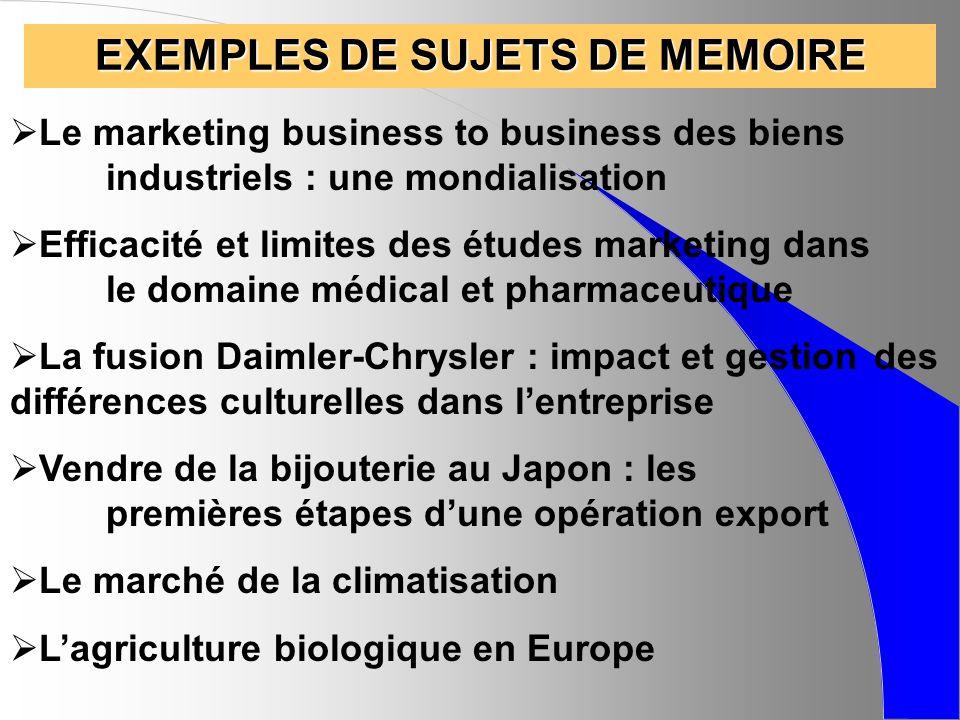 EXEMPLES DE SUJETS DE MEMOIRE