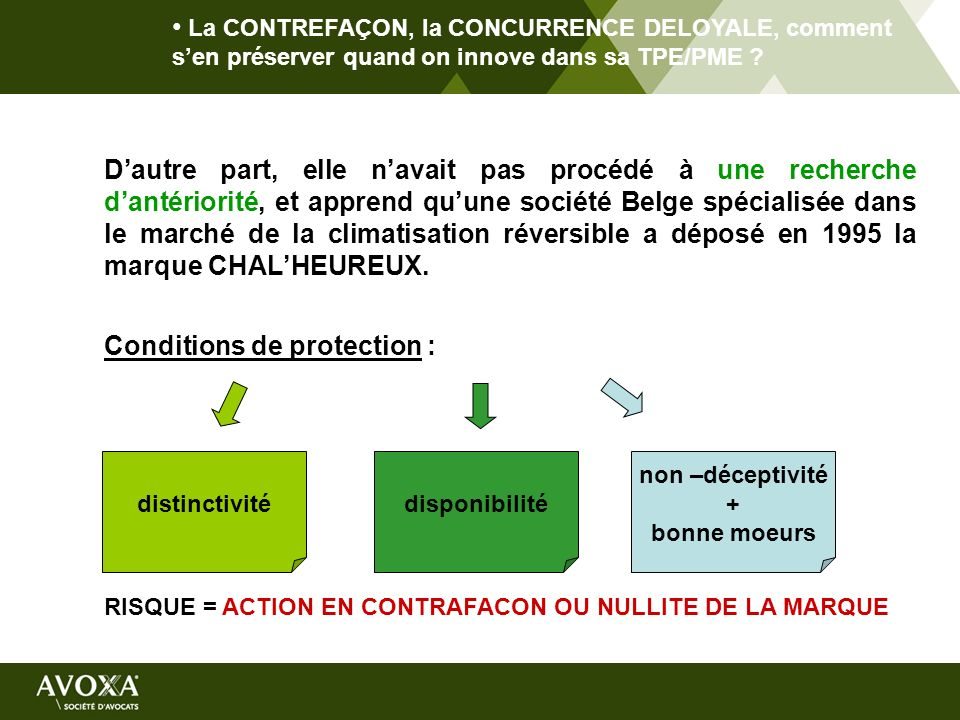 Conditions de protection :