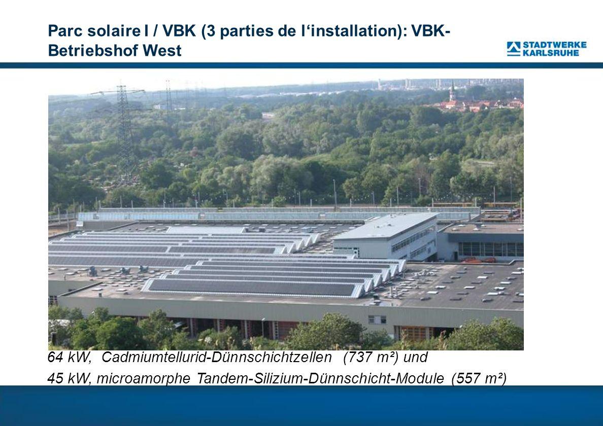 Parc solaire I / VBK (3 parties de l'installation): VBK-Betriebshof West
