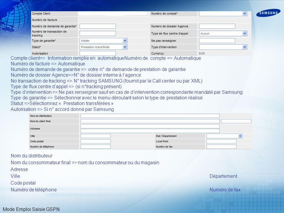 Compte client=> Information remplie en automatique
