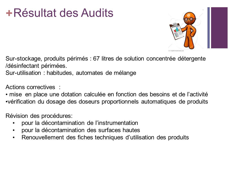 2323 Résultat des Audits. + Il est révélé lors de cet audit des stocks pour 3 mois de consommation pour certains.