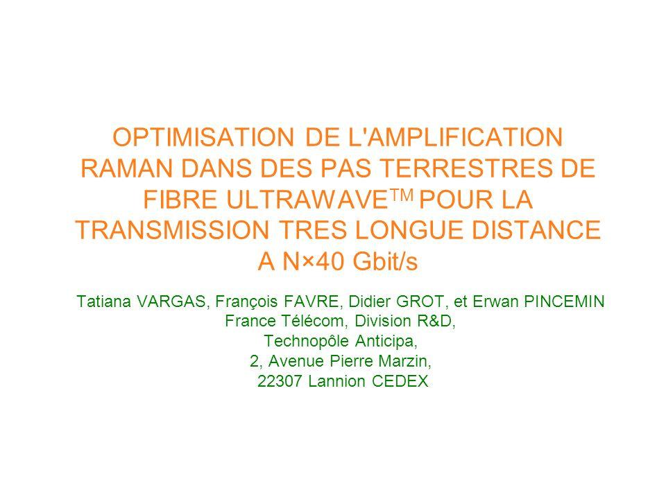 OPTIMISATION DE L AMPLIFICATION RAMAN DANS DES PAS TERRESTRES DE FIBRE ULTRAWAVETM POUR LA TRANSMISSION TRES LONGUE DISTANCE A N×40 Gbit/s