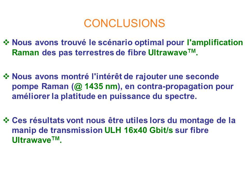 CONCLUSIONS Nous avons trouvé le scénario optimal pour l amplification Raman des pas terrestres de fibre UltrawaveTM.