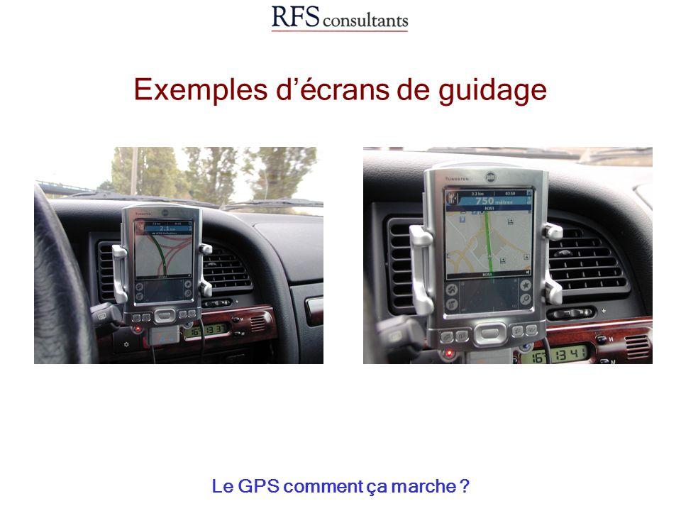 Exemples d'écrans de guidage
