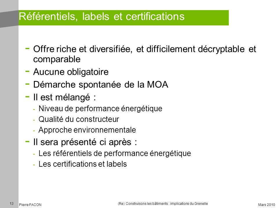 Référentiels, labels et certifications