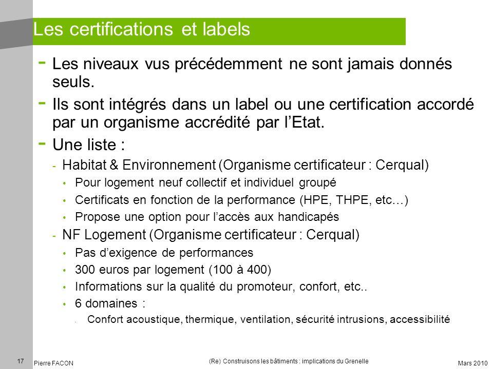 Les certifications et labels