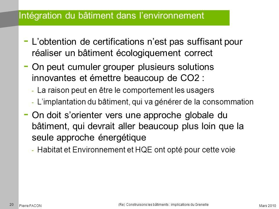 Intégration du bâtiment dans l'environnement