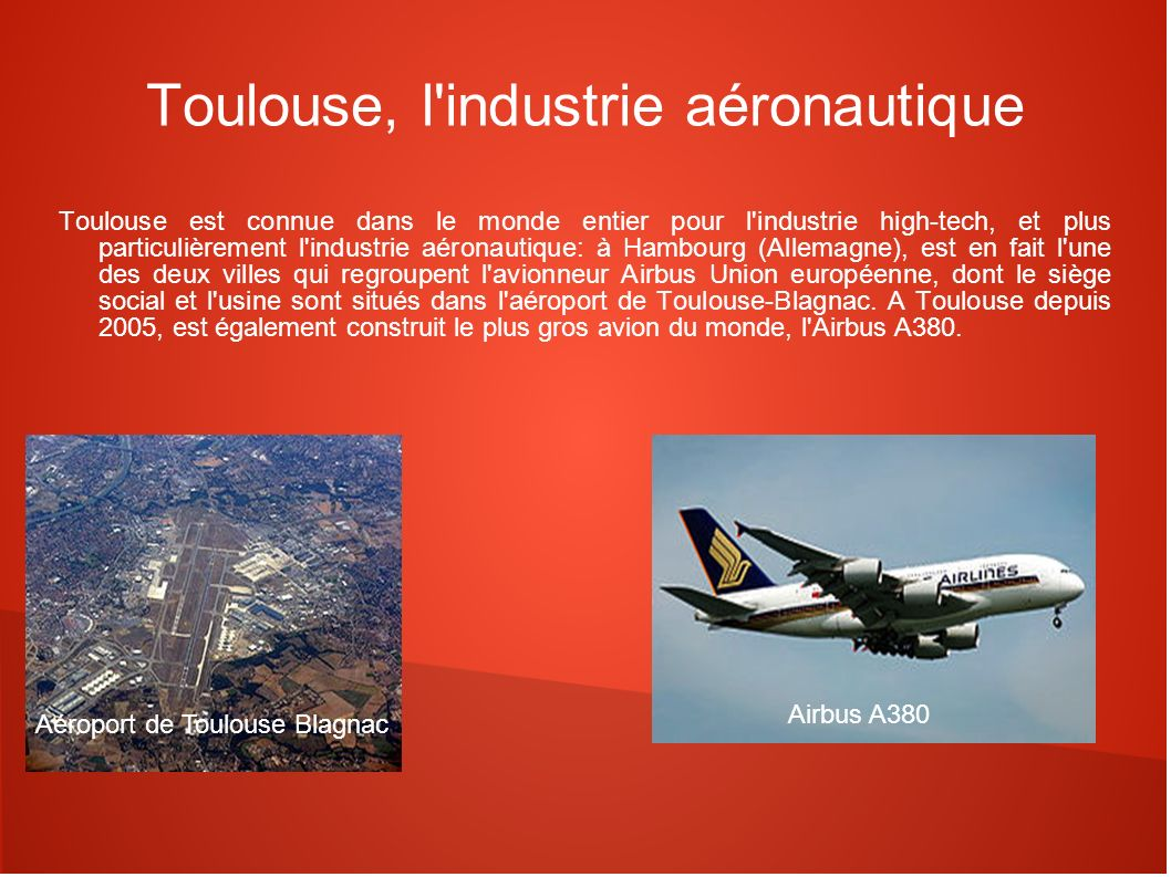 Toulouse, l industrie aéronautique