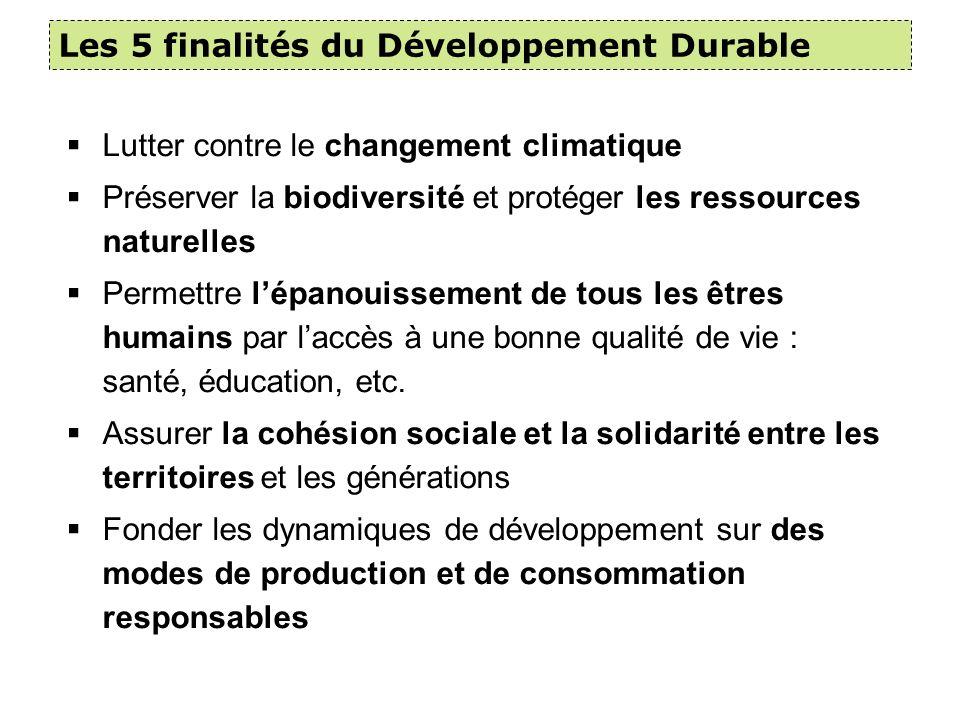 Les 5 finalités du Développement Durable
