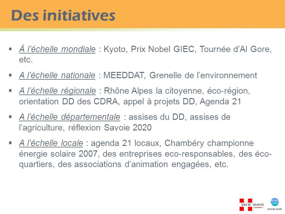 Des initiatives À l'échelle mondiale : Kyoto, Prix Nobel GIEC, Tournée d'Al Gore, etc. A l'échelle nationale : MEEDDAT, Grenelle de l'environnement.