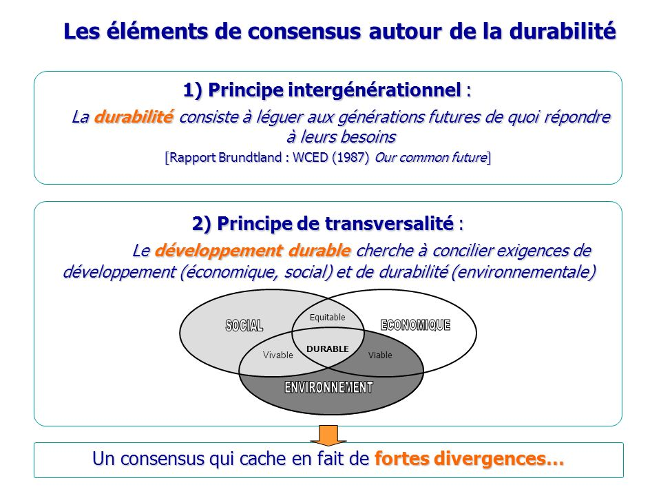 Les éléments de consensus autour de la durabilité