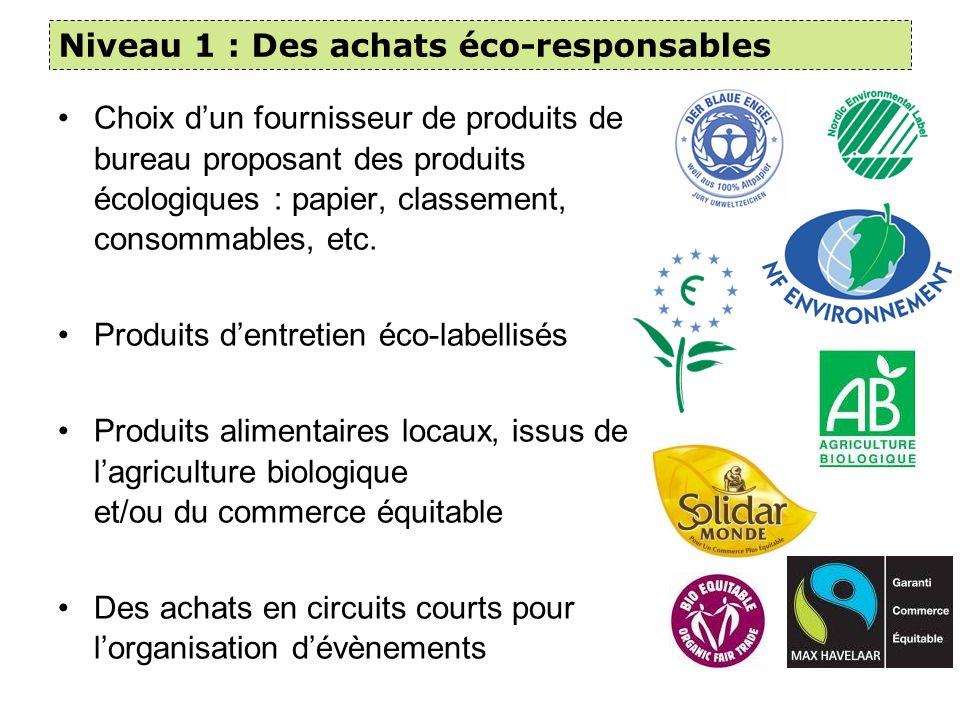 Niveau 1 : Des achats éco-responsables