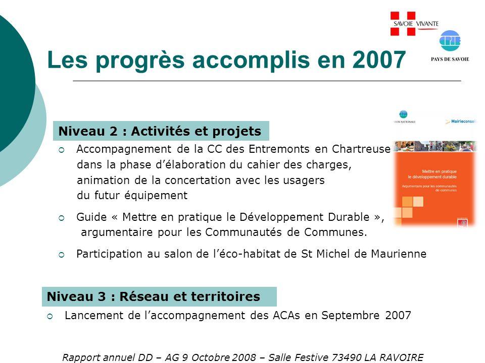 Les progrès accomplis en 2007