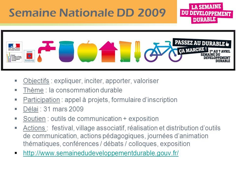 Semaine Nationale DD 2009 Objectifs : expliquer, inciter, apporter, valoriser. Thème : la consommation durable.