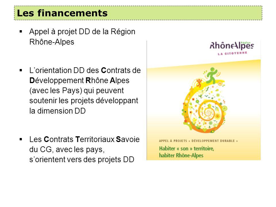 Les financements Appel à projet DD de la Région Rhône-Alpes