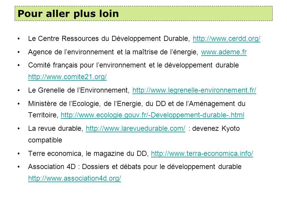 Pour aller plus loin Le Centre Ressources du Développement Durable, http://www.cerdd.org/
