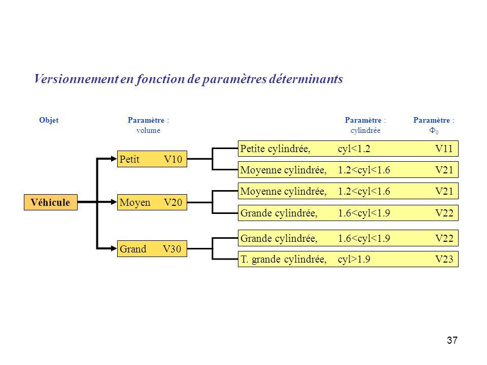 Versionnement en fonction de paramètres déterminants