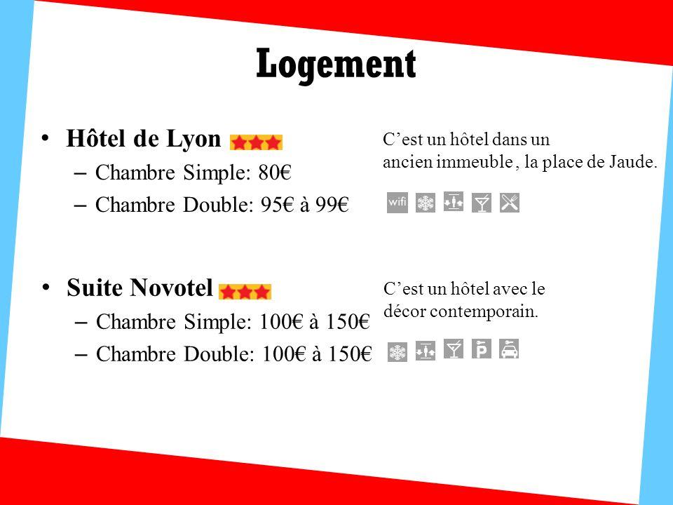 Logement Hôtel de Lyon Suite Novotel Chambre Simple: 80€