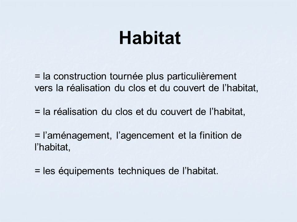Habitat = la construction tournée plus particulièrement