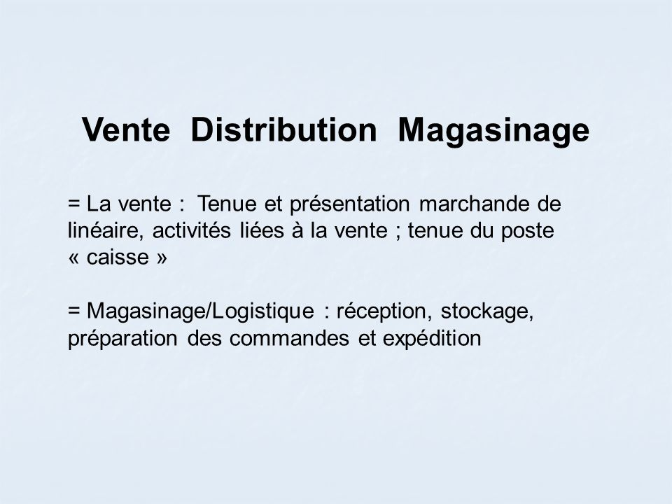 Vente Distribution Magasinage