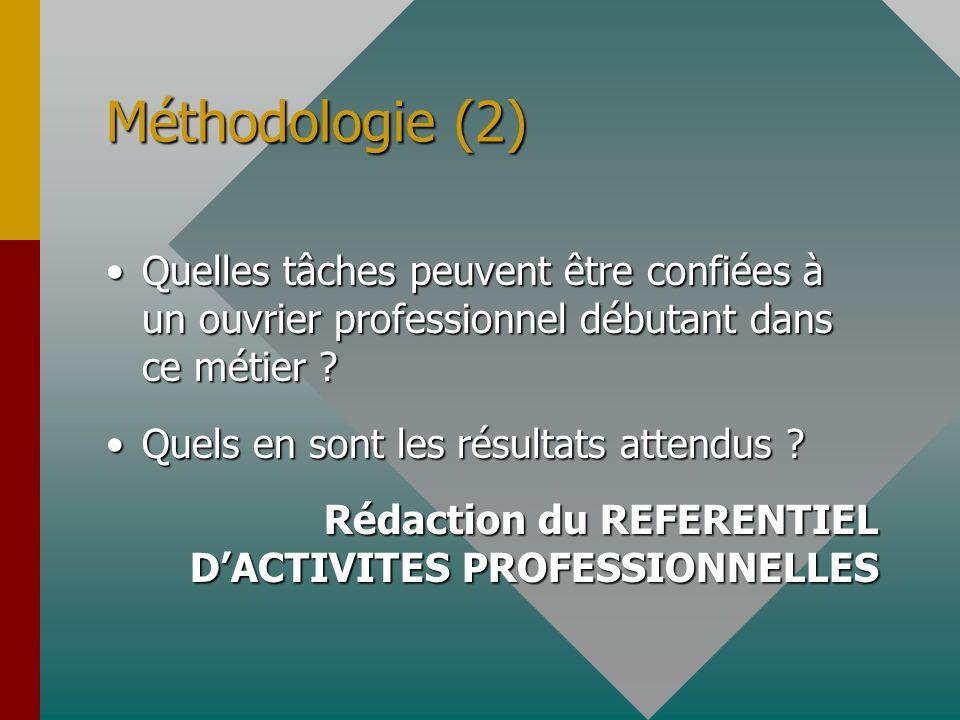 Méthodologie (2) Quelles tâches peuvent être confiées à un ouvrier professionnel débutant dans ce métier