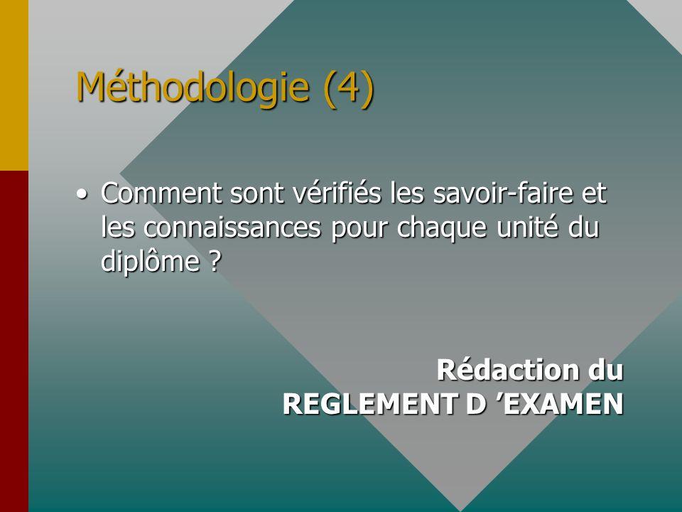 Méthodologie (4) Comment sont vérifiés les savoir-faire et les connaissances pour chaque unité du diplôme