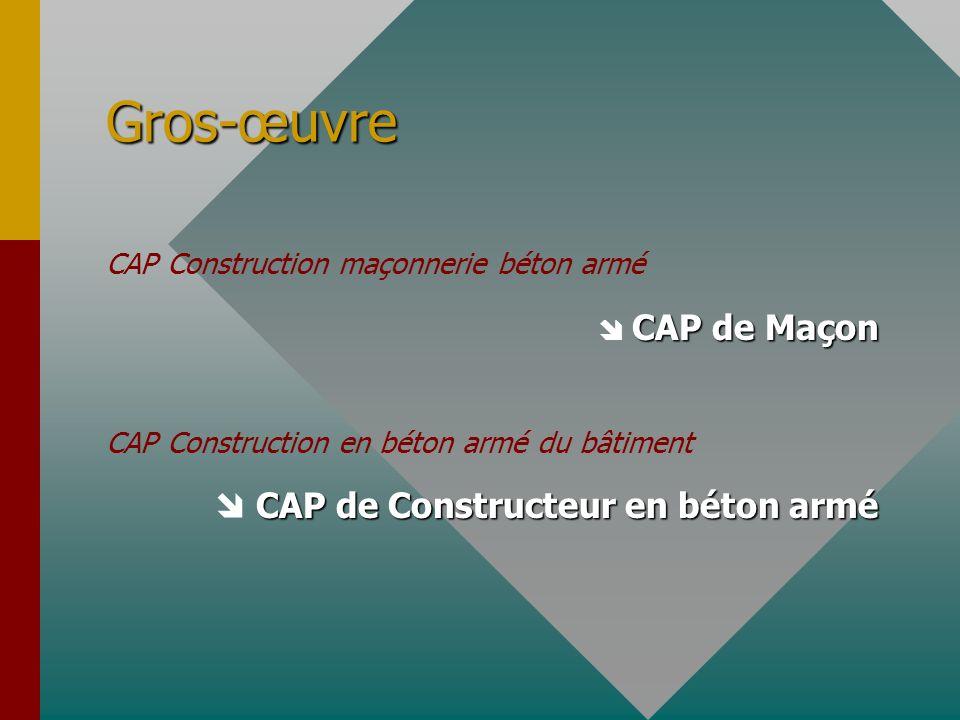 Gros-œuvre  CAP de Constructeur en béton armé