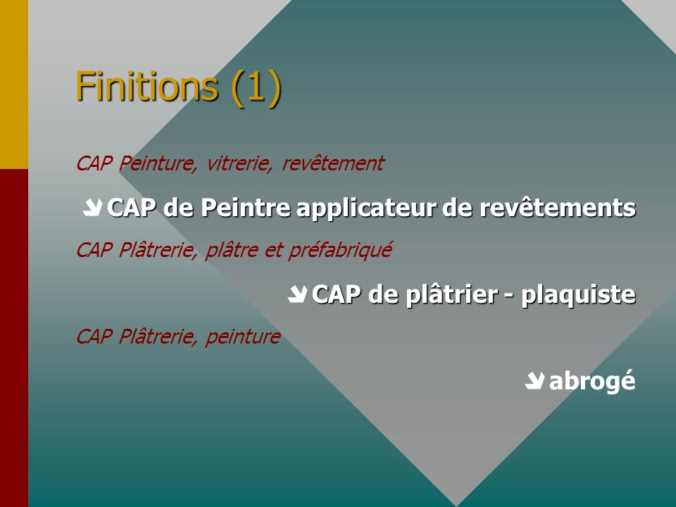 Finitions (1)  CAP de Peintre applicateur de revêtements