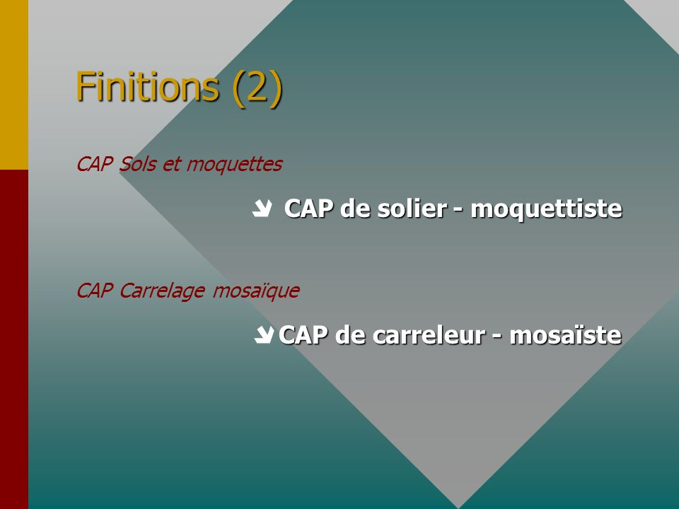 Finitions (2)  CAP de solier - moquettiste