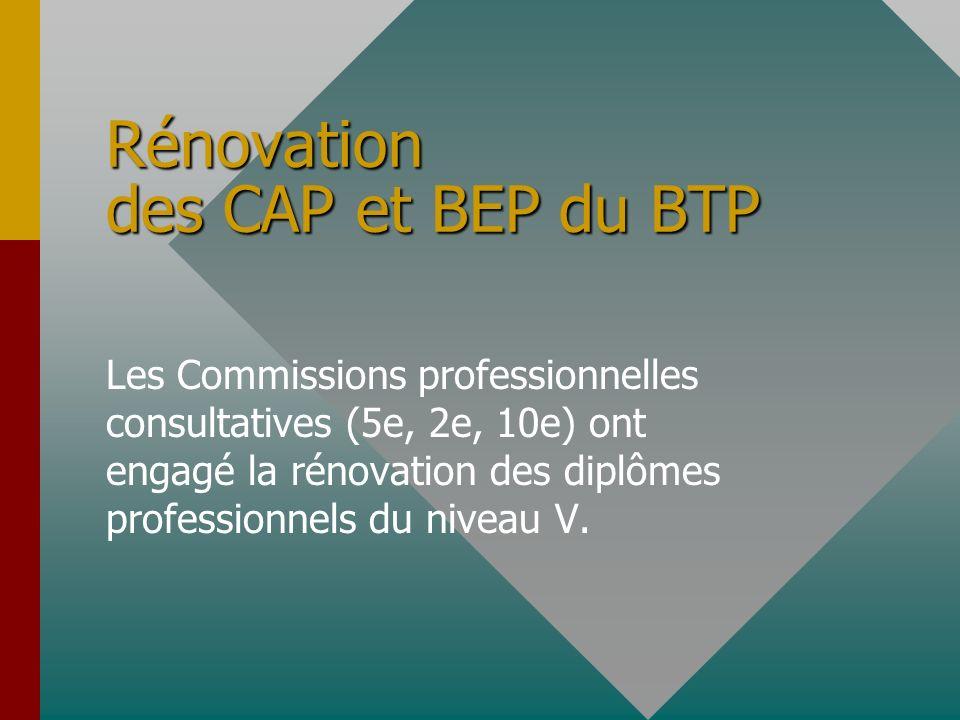 Rénovation des CAP et BEP du BTP