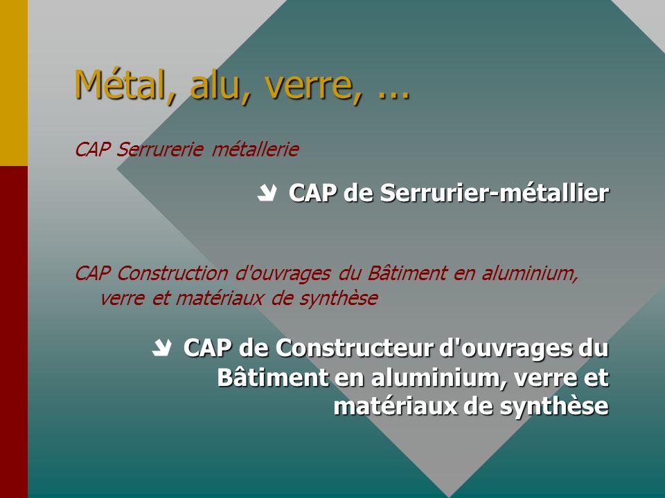 Métal, alu, verre, ... CAP Serrurerie métallerie.  CAP de Serrurier-métallier.