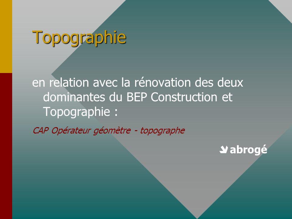 Topographie en relation avec la rénovation des deux dominantes du BEP Construction et Topographie :