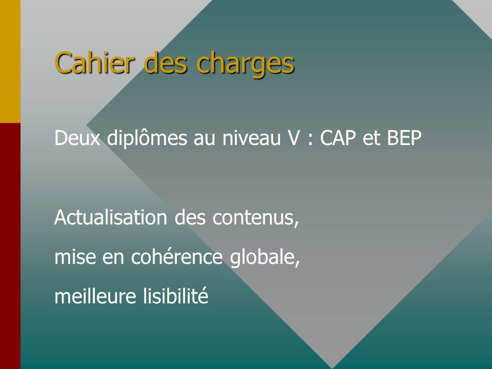 Cahier des charges Deux diplômes au niveau V : CAP et BEP