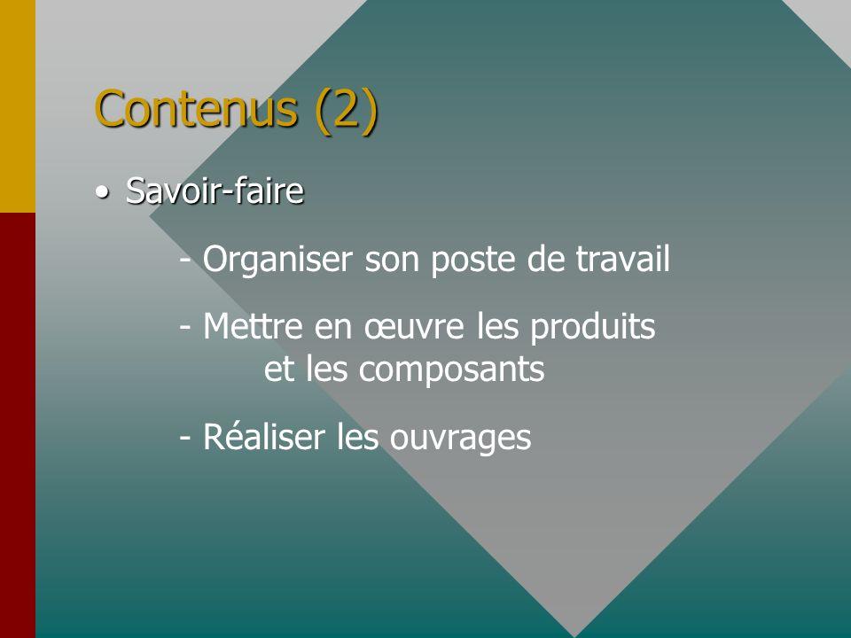 Contenus (2) Savoir-faire - Organiser son poste de travail