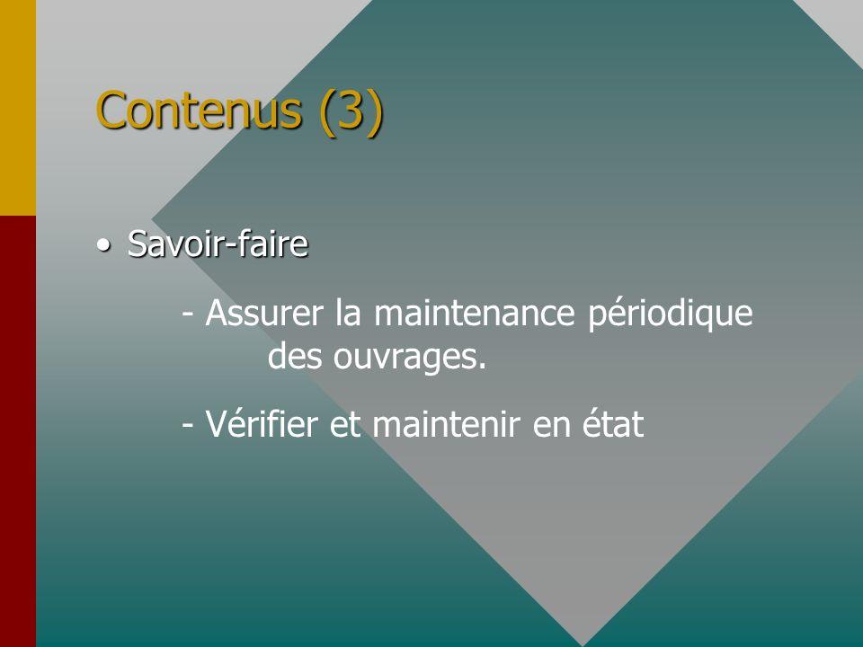 Contenus (3) Savoir-faire