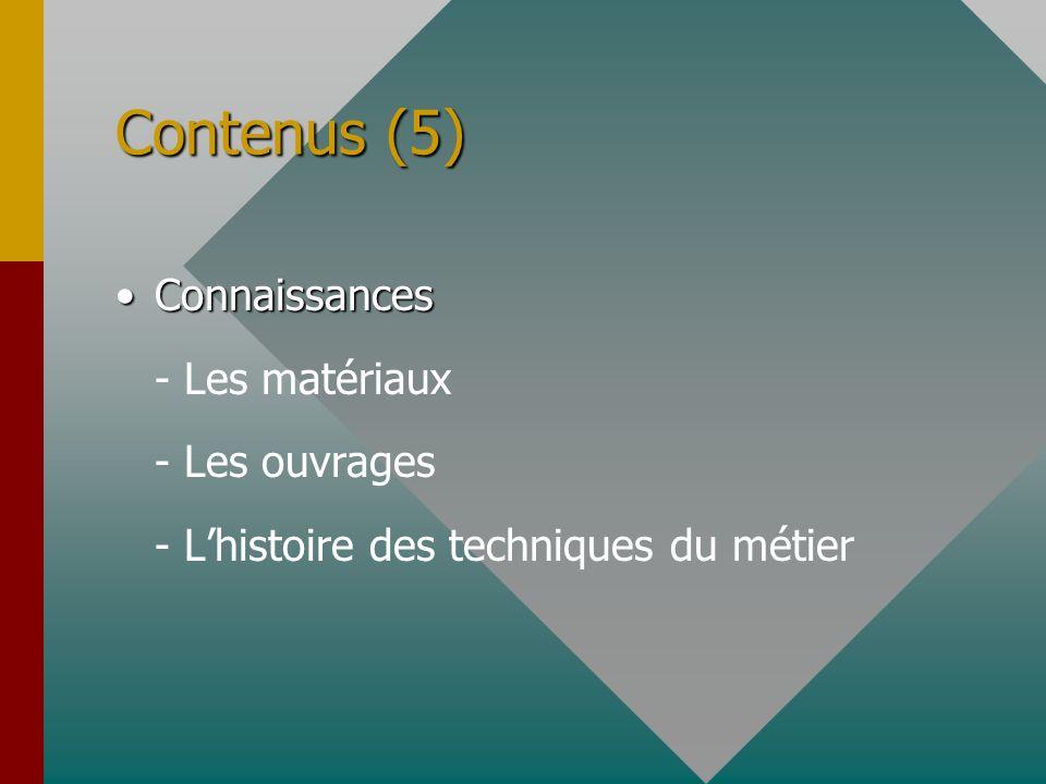 Contenus (5) Connaissances - Les matériaux - Les ouvrages
