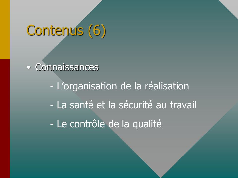 Contenus (6) Connaissances - L'organisation de la réalisation