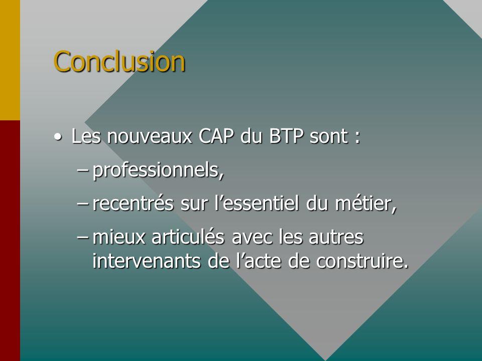 Conclusion Les nouveaux CAP du BTP sont : professionnels,