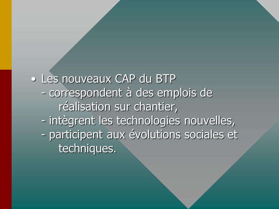 Les nouveaux CAP du BTP - correspondent à des emplois de