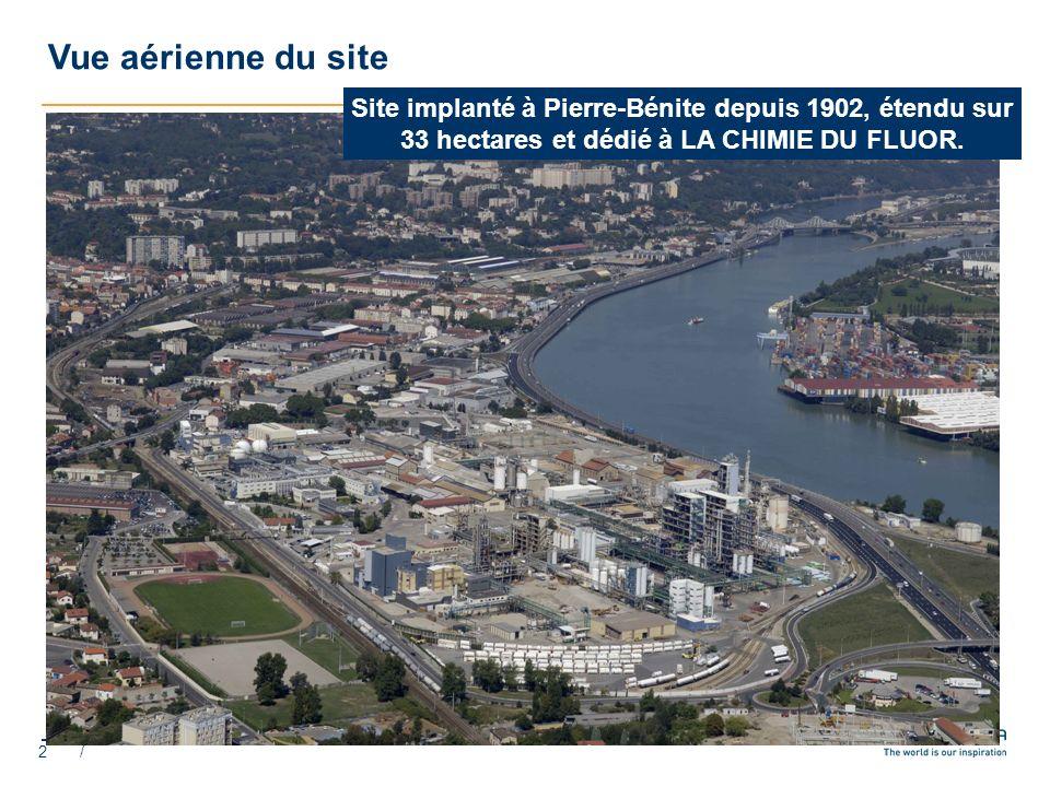 Vue aérienne du site Site implanté à Pierre-Bénite depuis 1902, étendu sur 33 hectares et dédié à LA CHIMIE DU FLUOR.