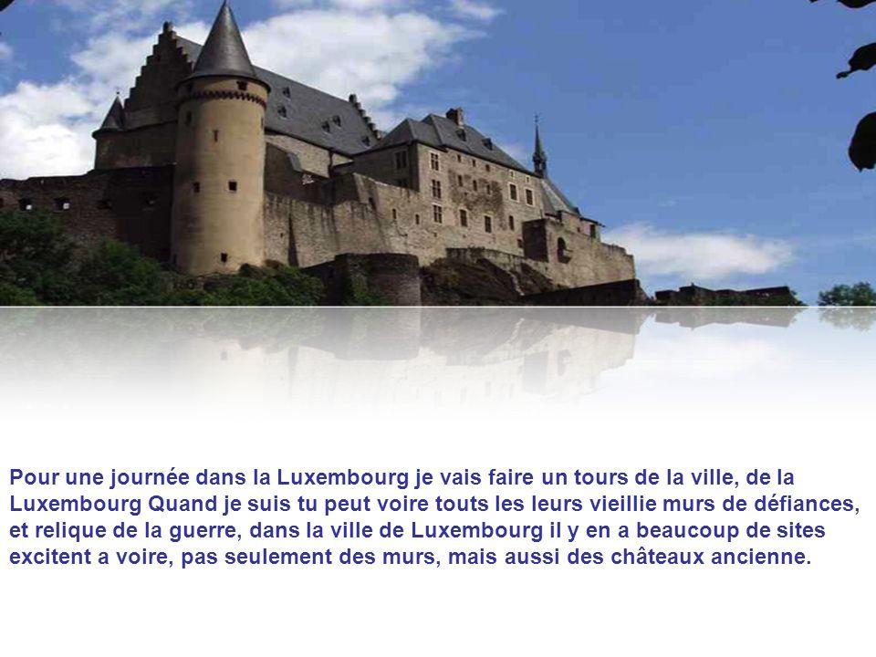Pour une journée dans la Luxembourg je vais faire un tours de la ville, de la Luxembourg Quand je suis tu peut voire touts les leurs vieillie murs de défiances, et relique de la guerre, dans la ville de Luxembourg il y en a beaucoup de sites excitent a voire, pas seulement des murs, mais aussi des châteaux ancienne.