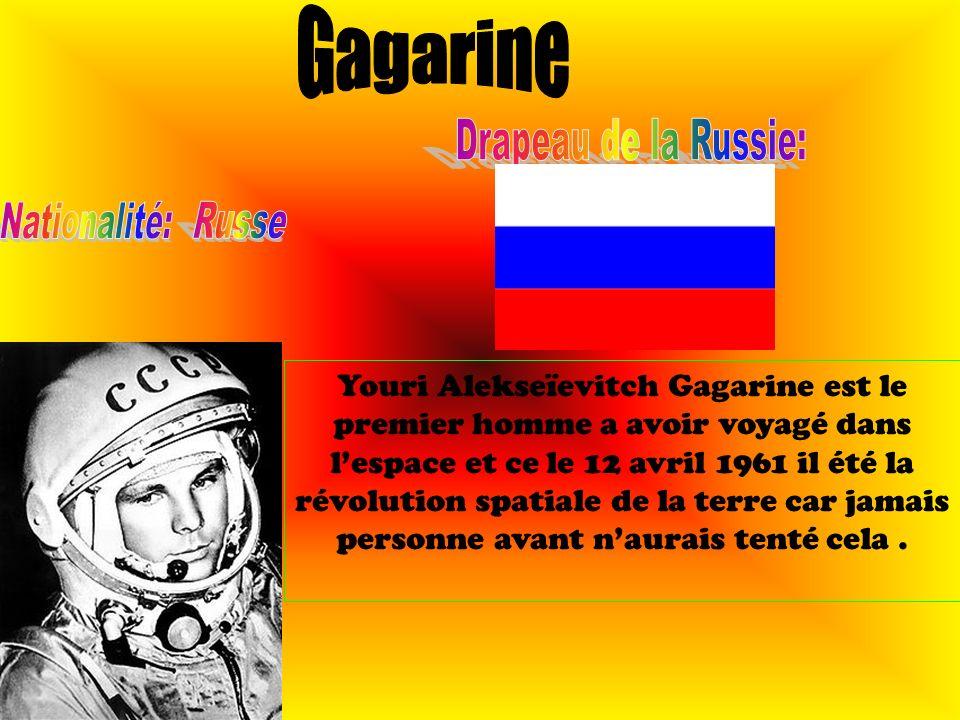 Gagarine Drapeau de la Russie: Nationalité: Russe