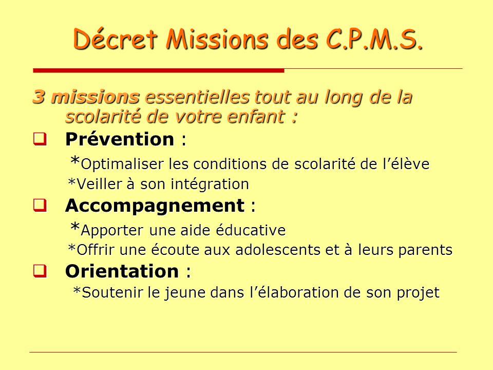 Décret Missions des C.P.M.S.