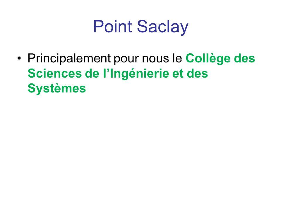 Point Saclay Principalement pour nous le Collège des Sciences de l'Ingénierie et des Systèmes
