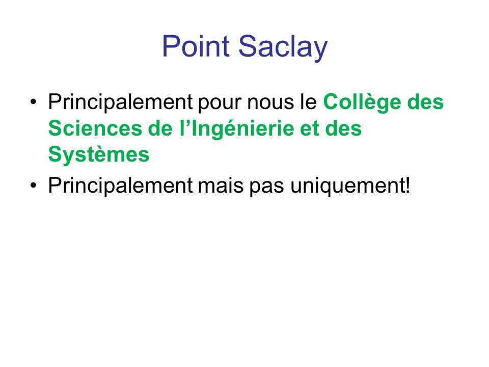 Point Saclay Principalement pour nous le Collège des Sciences de l'Ingénierie et des Systèmes.