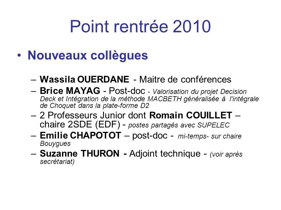 Point rentrée 2010 Nouveaux collègues