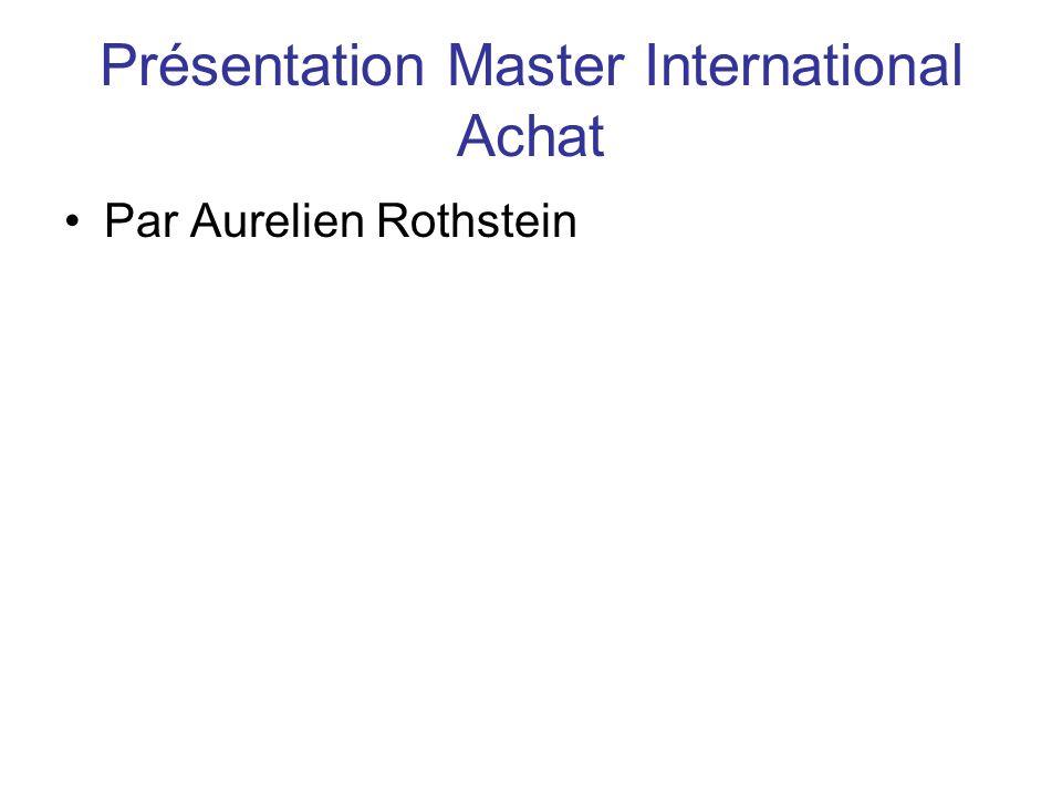 Présentation Master International Achat