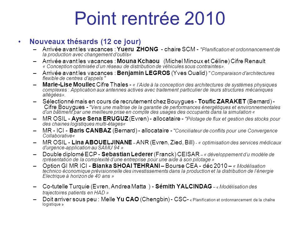 Point rentrée 2010 Nouveaux thésards (12 ce jour)